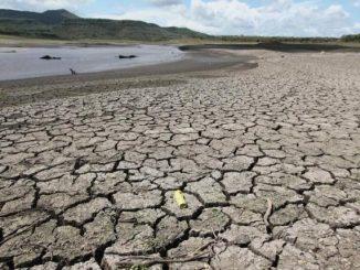 Drought affected land is seen in the Las Canoas dam near San Francisco Libre