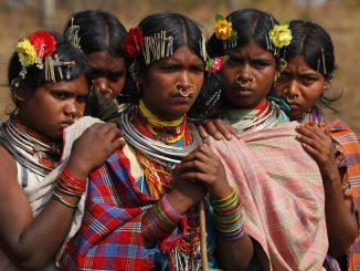 Members of the Dongria Kondh tribe gather on top of the Niyamgiri mountain near Lanjigarh