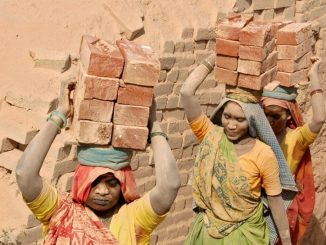 Labourers carry bricks on their heads at a brick kiln at Kodhasar village